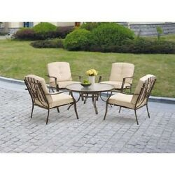 5-Piece Outdoor Wrought Iron Patio Chat Set Furniture Tan