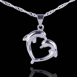 Love Heart Sterling Silver Dolphin Necklace Pendant with 18