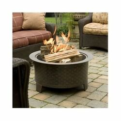 Outdoor Patio Deck Beach Fire Pit Bronze Woven Cast Iron Base Portable Heater