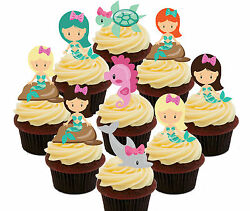 Mermaids Party Pack 36 Edible Cup Cake Toppers Stand up Girls#x27; Decorations GBP 4.99