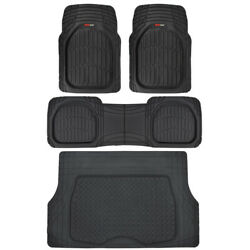 MotorTrend Deep Dish Rubber Floor Mats amp; Trunk Cargo Set Black Heavy Duty 4 PC $65.90