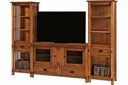 Amish Mission Arts & Crafts Entertainment Center Wall Unit Rio TV Console Wood