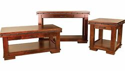Amish Rustic Pasadena Accent Occasional Tables Solid Wood Steel Band Coffee End