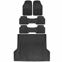 5 PC Rubber Floor Mats amp; Trunk Liner Combo for 3 Row Van SUV All Weather Black $53.90