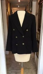 Vtg Authentic HERMES Women's Lined Double Breasted Black Cashmere Blazer Jacket