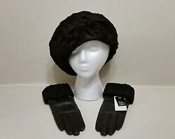 DENA Genuine Persian Lamb Hat & Cashmere Lined Leather Glove Set – NWT