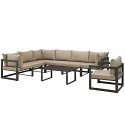 Lexmod Fortuna 8 Piece Outdoor Patio Sectional Sofa Set in Brown Mocha