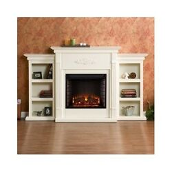 Electric Fireplace Heater Media Center Bookcase Ivory Wood Mantel TV Stand New