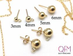 3pairs (6pcs) Gold Filled 14K Stud Ball Earrings with loop Earring Back Included $7.96