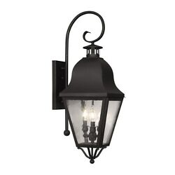 Livex 3 Light Colonial Large Outdoor Wall Lamp Lighting Fixture Black Clear Gla