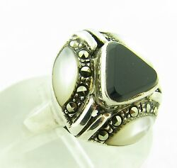 Vintage Sterling Silver Onyx Mother of Pearl MOP Marcasite Deco Ring Size 7