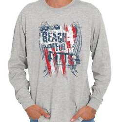 Reach For The Stars American USA Vintage Long Sleeve Tees Shirts T-Shirts