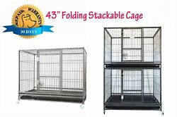 New Homey Pet 43quot; Stackable Heavy Duty Metal Cat Dog Crate Cage w Tray Wheels $50.99