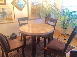 Marble and Wooden Table and Chairs $250.00