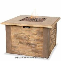 LP Gas Outdoor Firebowl with Faux Stacked Stone