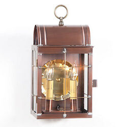 Primitive Colonial Country Toll House Outdoor Wall Lantern in Antique Copper
