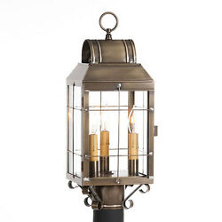 Primitive Colonial Country Martha's Post Lantern in Weathered Brass