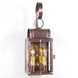 Primitive Colonial Country Double Outdoor Wall Lantern in Antique Copper