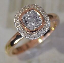 Best Engagement Ring 1 Carat Center Round With Diamond Halo Set in 18kRose Gold