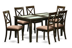 7 Piece Dining Room Set - Dining Glass Top Table and 6 dining room chairs