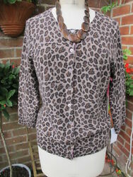 gorgeous new GHARANI STROK 100% CASHMERE leopard CARDIGAN luxe pink edges BNWT m