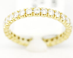 Shared Prong 14k Yellow Gold 2.20tcw Diamond Wedding 3mm Band Ring Size 6.5