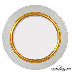 Friedman Brothers Fillmore Mirror (40 x 40 Gloss White  Gold) On Sale 25% Off
