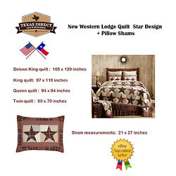 Texas Western Star Lodge Cabin Quilt  + Pillow Shams FREE US SHIPPING