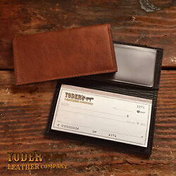 Handmade Amish Leather Checkbook Cover comes in Brown or Black $39.95