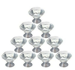 10Pcs Crystal Glass Cabinet Knob Diamond Shape 30mm Drawer Cupboard Handle Pull $11.67