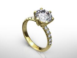 2.50 CT ROUND CUT GVVS2 PAVE DIAMOND  SOLITAIRE ENGAGEMENT RING 14K YELLOW GOLD