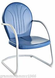 Vintage Spring Rocking Chair Metal Retro Lawn Patio Garden Deck Blue Furniture