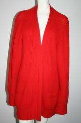 DONNA KARAN Red 100% Cashmere Long Sleeve Open Cardigan size M