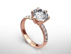 2 CT ROUND CUT FSI2 PAVE DIAMOND  SOLITAIRE ENGAGEMENT RING 14K ROSE GOLD