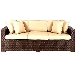 Outdoor Wicker Patio Furniture Sofa 3 Seater Luxury Comfort Couch
