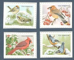 5126 29 Songbirds In Snow Set Of 4 Mint nh FREE SHIPPING $3.25