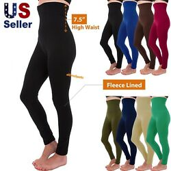 Women#x27;s High Waist Compression Top Tummy Control Thick Fleece Lined Leggings $11.95