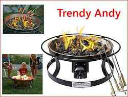 Fire Pit Gas Lava Rock Steel Patio Garden Outdoor Living Eating Cooking Home