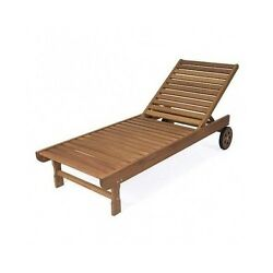 Wood Chaise Lounge Pool Beach Deck Furniture Lounger Adjustable Folding Chair
