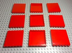 Lego 9 Pieces Red Panels 1x6x5 Windows City Friends Wall Building Parts $7.75