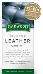 LEATHER CARE KIT OAKWOOD 3 PIECE FOR LEATHER FURNITURE UPHOLSTERY CAR SEATS