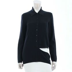 AT AUTHENTIC CHANEL WOOL ASYMMETRY CARDIGAN 02C NAVY 40 USED