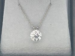 2.00 CT ROUND DVS1 ENHANCED REAL DIAMOND SOLITAIRE PENDANT 14K WHITE GOLD