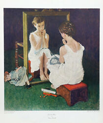 Norman Rockwell Original Collotype-Girl At The Mirror