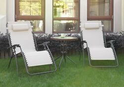 3 pc Outdoor Patio Pool Lounge Set Cream Zero Gravity Recliner Chair Glass Table