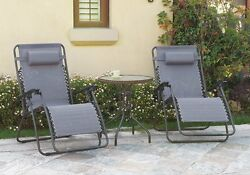 3 pcs Outdoor Patio Pool Lounge Set Grey Zero Gravity Recliner Chair Glass Table