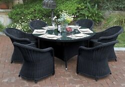 7 pc Outdoor Patio Dining Set Round Glass Table High Back ArmChair Rattan Wicker