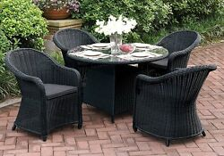 Outdoor Patio Dining Set Round Glass Table High Back Arm Chair PE Rattan Wicker