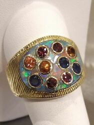 KINGLY Strong Heavy Men's 11 David Freeland Ladies 18k Fire Opal Sapphire Ring