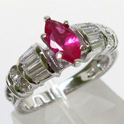 CLASSY 1 CT RUBY MARQUISE CUT 925 STERLING SILVER RING SIZE 5 10 $15.59